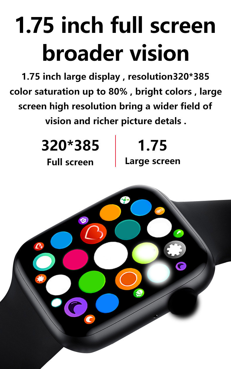 "Hf640b8dffe0441bfa8fd650a8805e0fcA 2021 IWO 13 MAX Smart Watch T500+ plus 1.75""HD Bluetooth Calls Custom Wallpaper Heart Rate Monitor Sport Smartwatch PK W46 W26"
