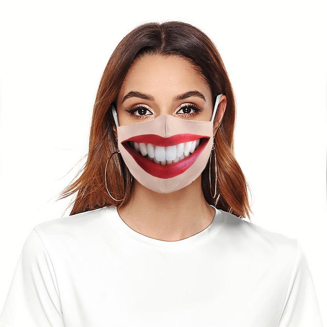 2pcs Unisex Funny Big Mouth Red Lips Print Face Mask Cloth Adult Protective PM 2.5 Dust Mouth Cover Washable Reusable Mouth Mask 2