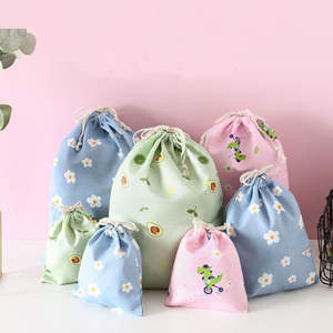 Pouch Eco-Bags Travel-Storage Drawstring Foldable Cotton Flower-Print Women 1PC