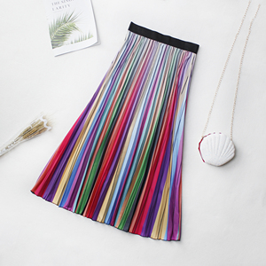 Image 3 - 2020 Spring New Fashion Europen Cartoon Print Elasticity Stain Pleated skirt High Street Style A line Mid Calf Skirt Femile