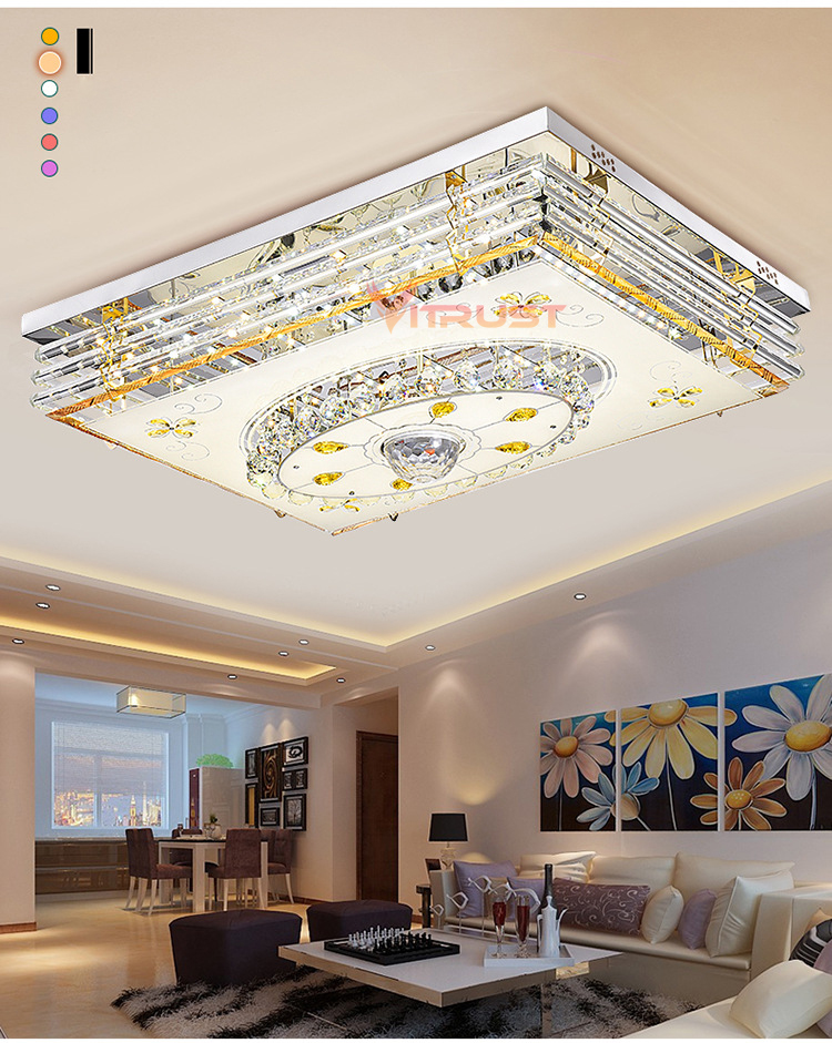 Mordern LED Crystal Ceiling Light Lamps RGB Dimmable 220V APP Bluetooth & Music Speaker Colorful Bedroom Living room Smart Lamp - 4