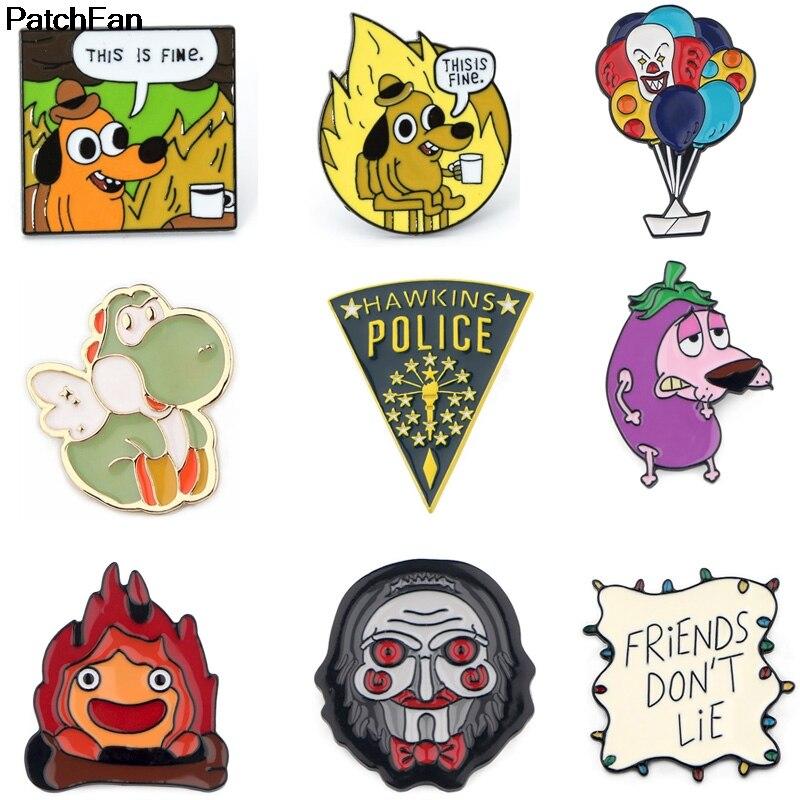 A3237 Patchfan Enamel Pins Cartoon Dog Brooches Lapel Pin Shirt