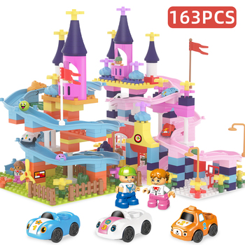 My First Castle Building Blocks Compatible With Duploed Marble Run Kids Slide City Blocks Figures Cars Track Toys For Girls Boys 922pcs mine mountain building blocks my world figures bricks educational toys for kids compatible with legoed minecrafted city