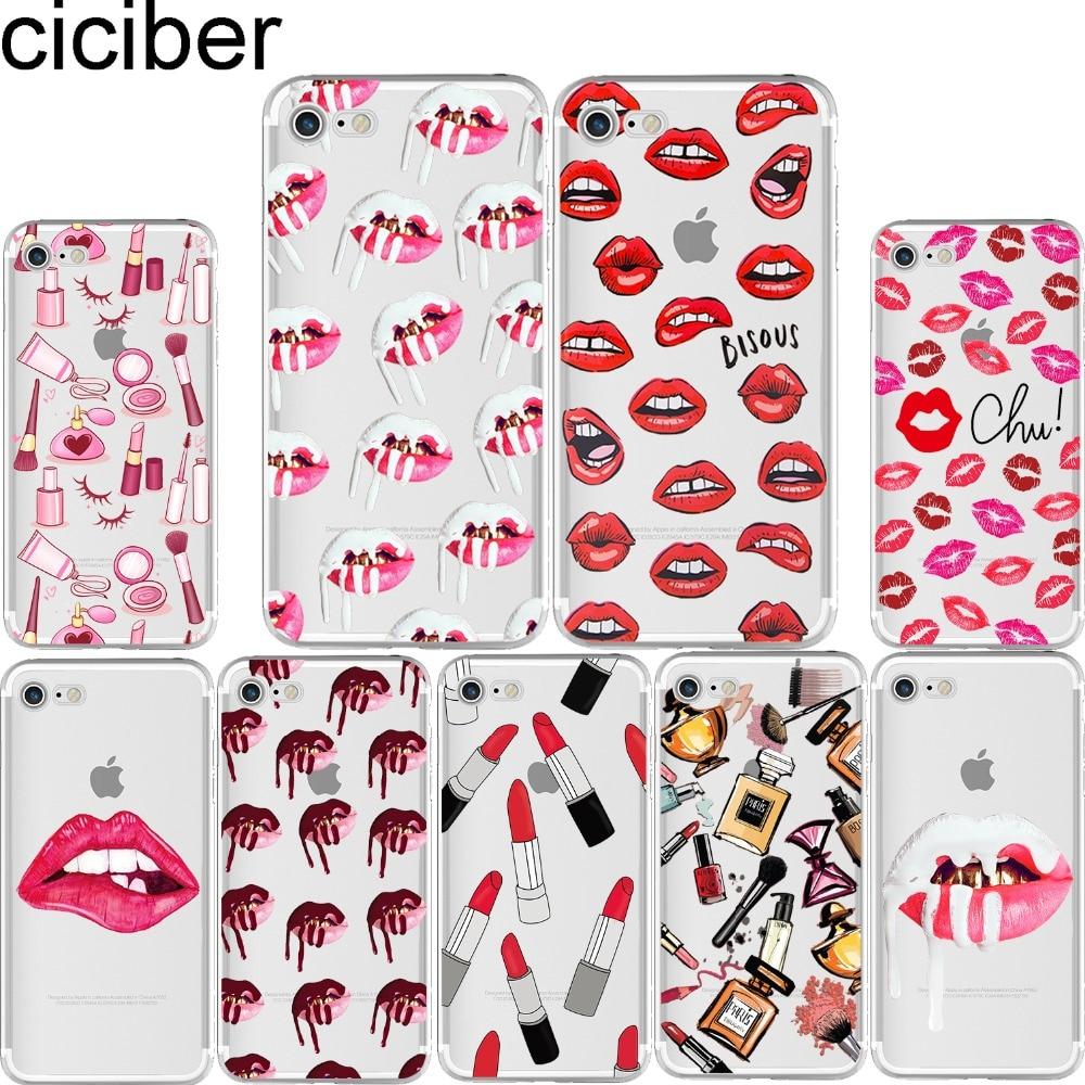 ciciber Kylie Jenner Sexy Girl շրթներկ շրթներկի համբույրների օրինակին փափուկ հեռախոսային պատյանները ծածկում են iPhone 6 6S 7 8 գումարած 5S SE X Coque fundas