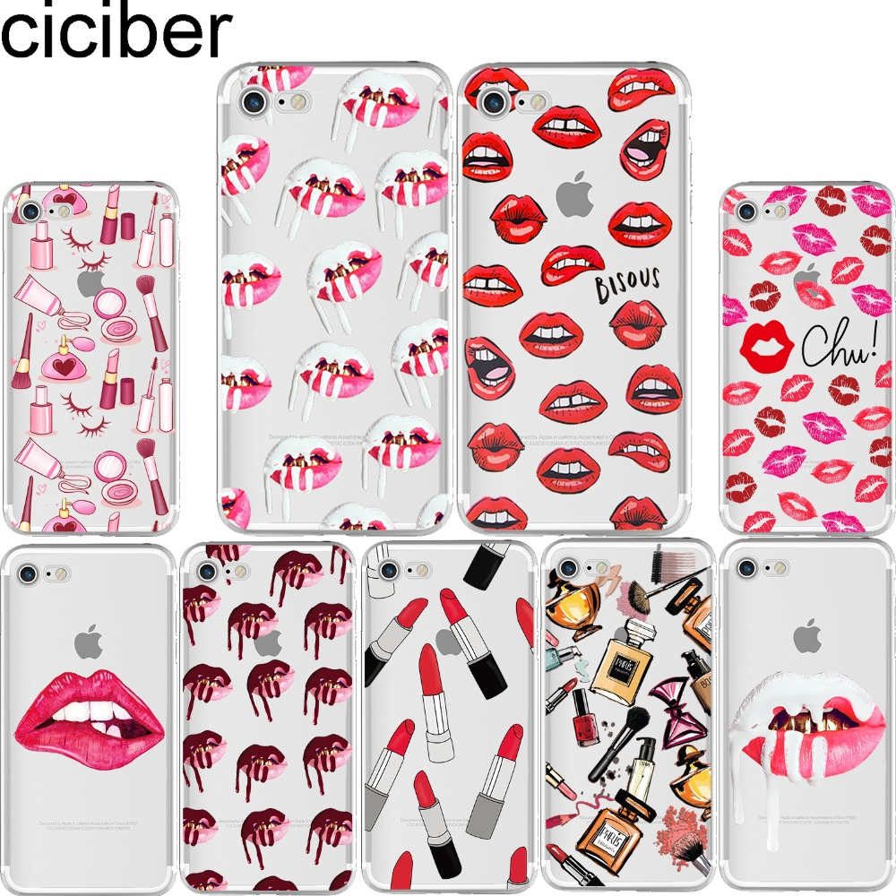 Ciciber 카일리 제너 섹시한 여자 입술 립스틱 키스 패턴 소프트 전화 케이스 커버 아이폰 6 6 초 7 8 플러스 5 초 SE X Coque fundas