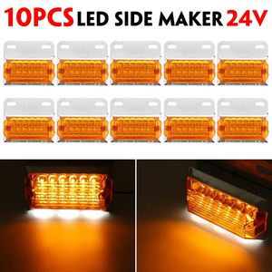 10pcs 24V 15 LED Car Truck Side Marker Light Car External Lights Squarde Warning Tail Light Signal Lamps Trailer Lorry Amber