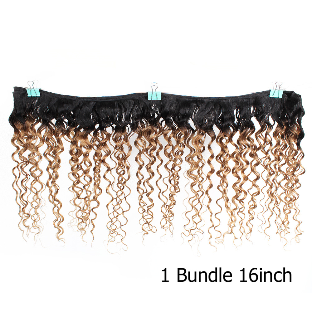 Image 5 - Bobbi Collection 1 Bundle T 1B 27 Ombre Honey Blonde Brazilian Water Wave Hair Weave 10 24 inch Non Remy Human Hair ExtensionHair Weaves   -