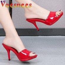 2021 New Summer Slippers Women Fine Heel 9cm 13cm Outside Slipper Waterproof Sandal Platform Sexy Slipper Designer Slides Red
