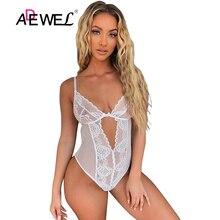 ADEWEL Sexy White Lace Mesh Bodysuit Combinaison Pantalon Femme One Piece Shoulder Strap Hollow Out Body Fiesta Mujer Jumpsuit L