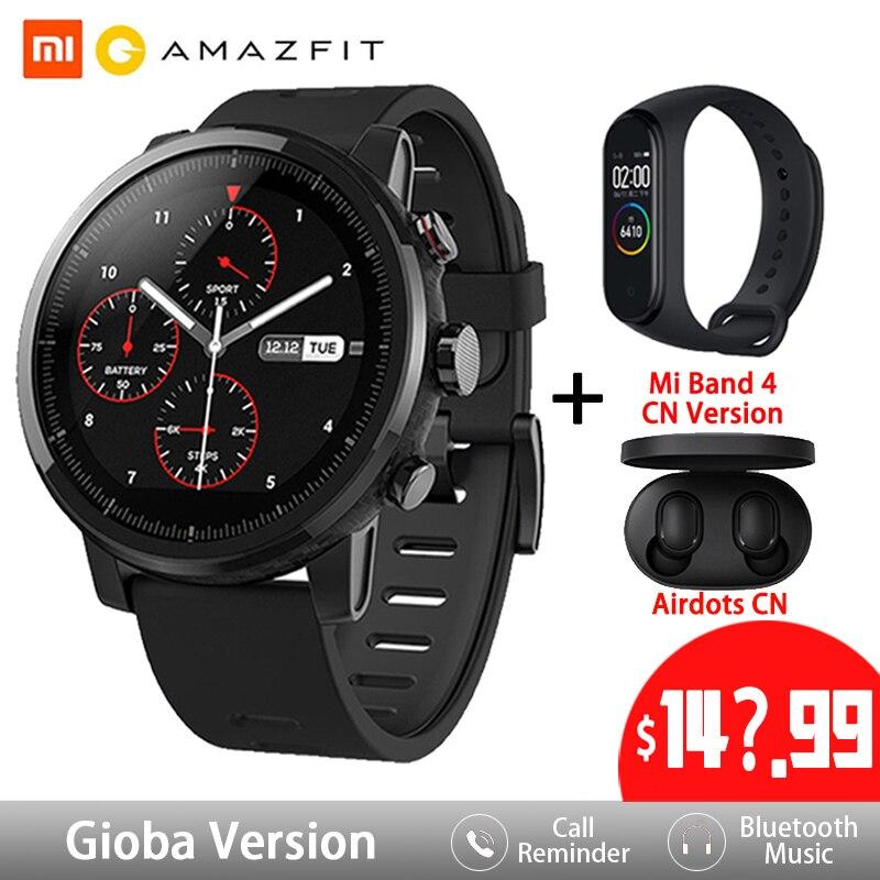 Amazfit stratos 2 relógio inteligente gps 5atm à prova d2.água 2.5d gps firstbeat monitor de freqüência cardíaca huami esporte natação smartwatch
