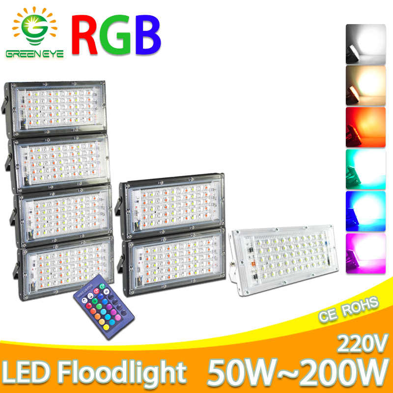 Lampu Sorot LED 50W 100W RGB LED Lampu Sorot AC 220V 240V Lampu Jalan LED Tahan Air IP65 lampu Outdoor LED COB