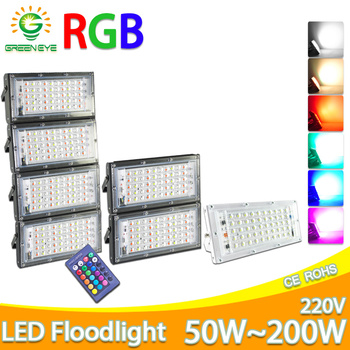 LED Flood Light 50W 100W RGB led Floodlight AC 220V 240V LED street Lamp waterproof IP65 outdoor Lighting led cob spotlight цена 2017