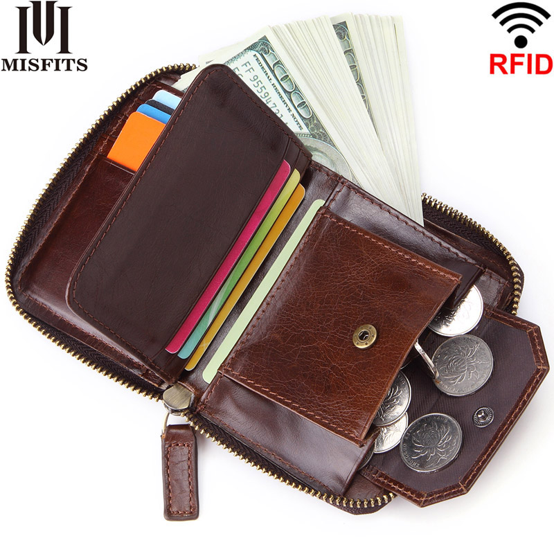MISFITS new RFID men short wallet with coin pocket genuine leather casual small zipper purse brand rivet design male card holder