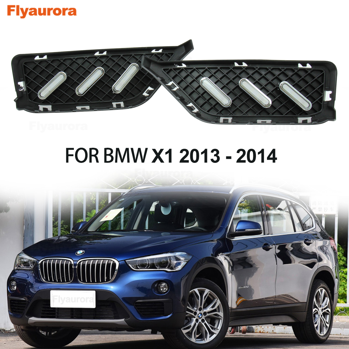 2PCS For <font><b>Bmw</b></font> X1 E84 F48 F49 2013~2019 <font><b>LED</b></font> DRL Daytime Running Light Daylights Daylamp With Yellow Turn Signal Blue Night Lamps image