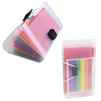 Protable A6 Rainbow Plastic 13 kieszenie rozkładana teczka organizator biurowy teczka na dokumenty torba rachunki schowek tanie i dobre opinie Plik skrzynka Portfel 178*118*25mm Z tworzywa sztucznego KWQBJE79880