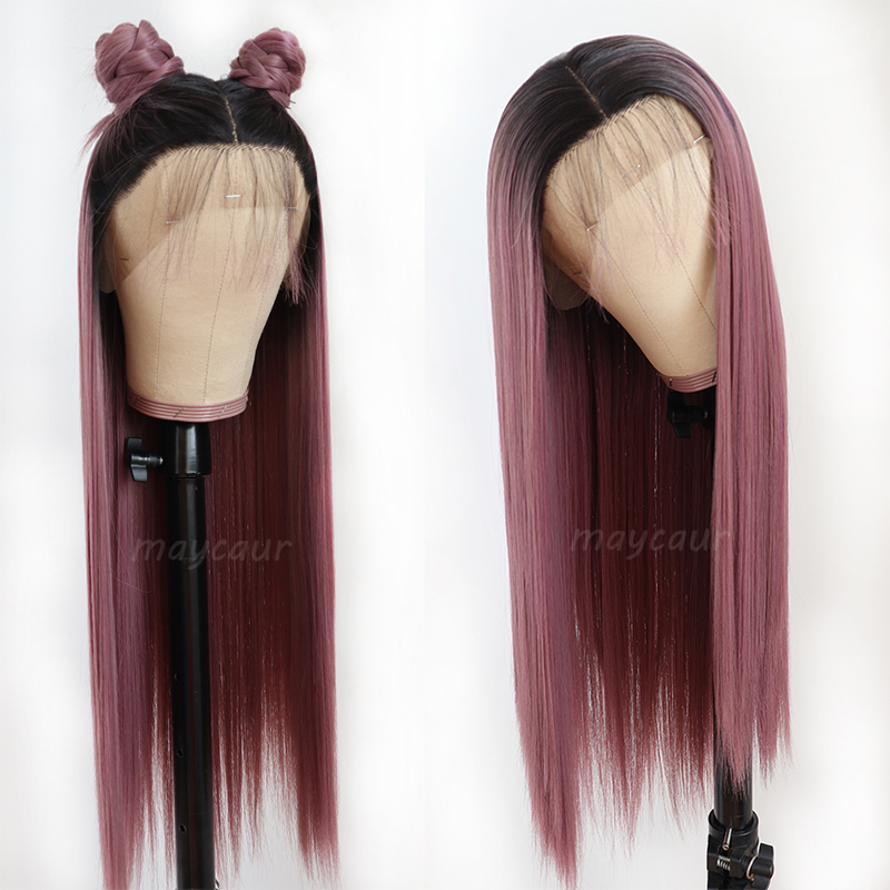 Ombre Purple/Grey Long Straight Lace Front Wig Heat Resistant Synthetic Hair Wigs For Women 180 Density