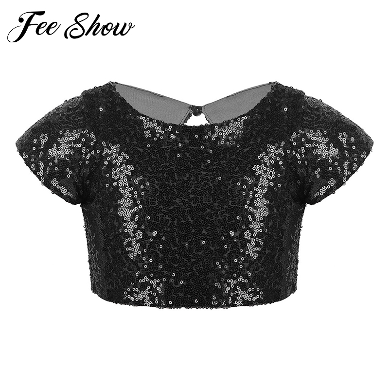 Kids Girls Cap Sleeves Sparkly Sequins Keyhole Back Tops Crop Top for Dance Stage Performance Birthday Party Daily Wear Clothes