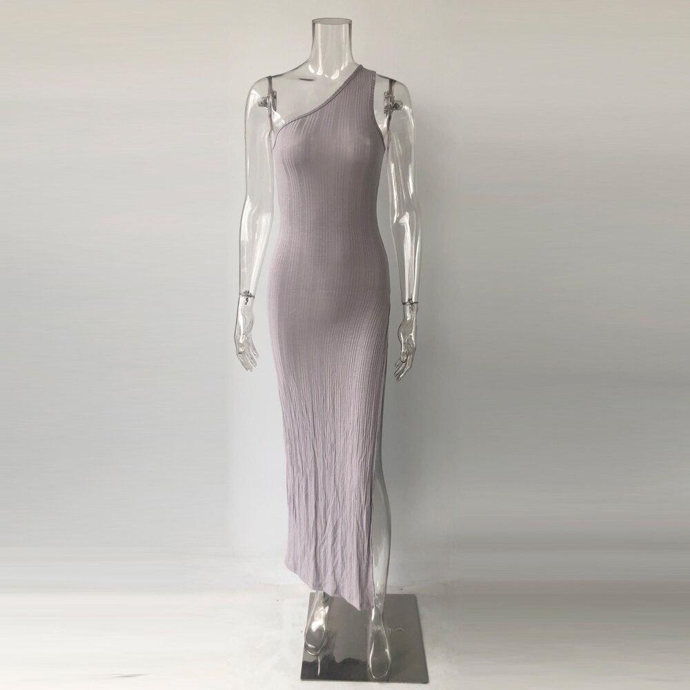 Kylie Jenner robe vestidos hot sale one shoulder split summer ribbed dress women slim fit sexy maxi long dress - kylie-jenner-outfits