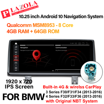 Android 10 Car Multimedia Player For BMW 3 Series F30 F31 F34 4 Series F32 F33 F36 2013-2016 NBT CarPlay Autoradio 10.25 IPS image