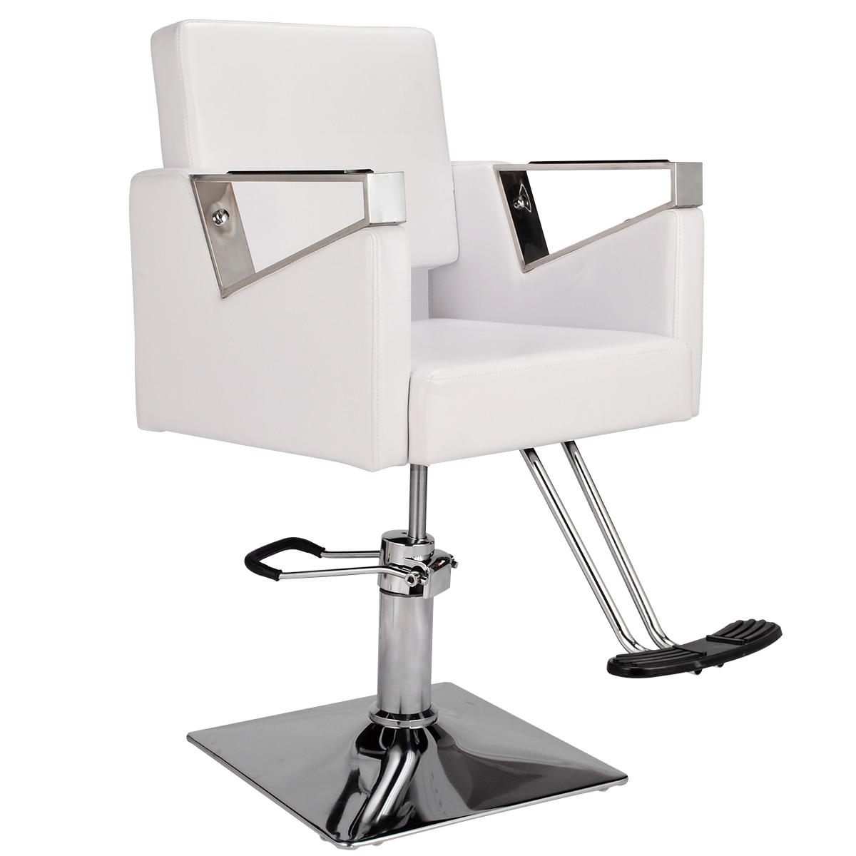 White Hairdressing Chair Hydraulic Rotary PU Leather Barber's Chair Barbershop Chair Hair Cut Salon Furniture