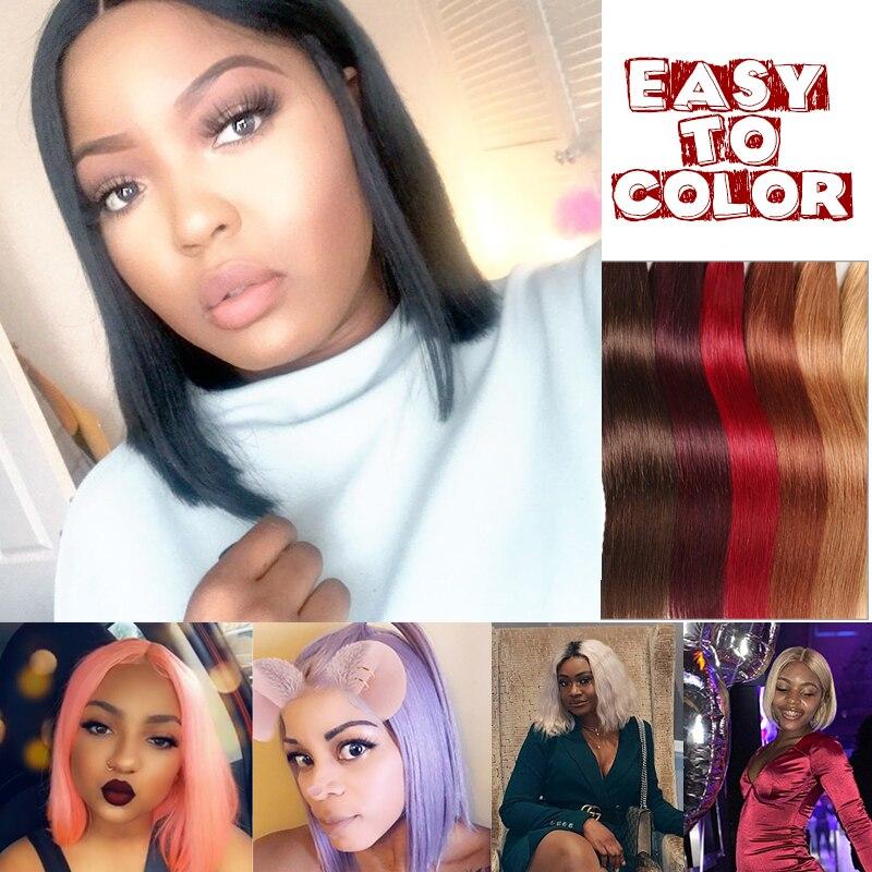 Ali Queen 13x4/13x6 Lace Front perruques 10A 150%/180%/200% densité brésilienne droite Remy cheveux naturel noir court Bob perruques - 4