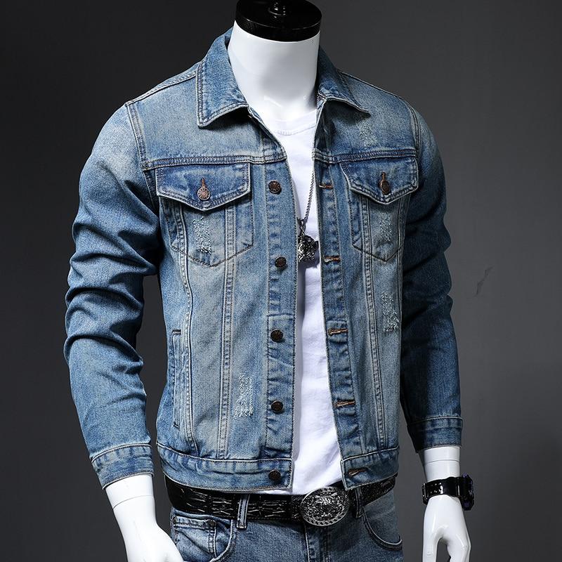 Men's Jacket Streetwear Motorcycle Classic Fashion Denim Jacket Denim Men's Jacket Clothes Denim Casual Hole Modis
