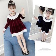 Long Sleeve Girls Fleece Flannel Dress Kids Princess Crochet Peter Pan Lace Collar Neckline High Quality Fall Clothes
