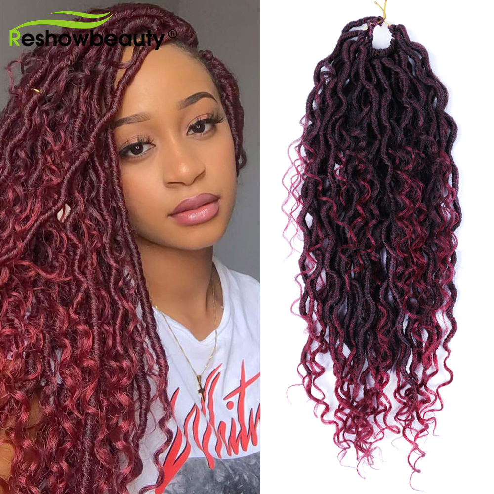 River Locs Goddess Braiding Hair Extension Synthetic Twist Hair For Crochet Braiding Faux Locs Curly Ends 24 Strand/Pack
