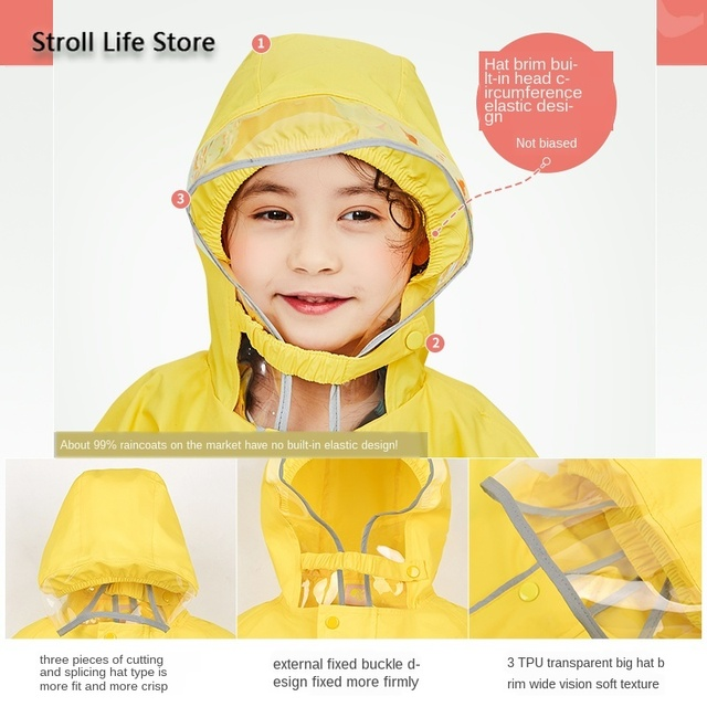Korea Yellow Kids Raincoat Girl Long Rain Coat Poncho Waterproof Suit Cover Long Rain Jacket Kids Windbreaker Impermeable Gift 1