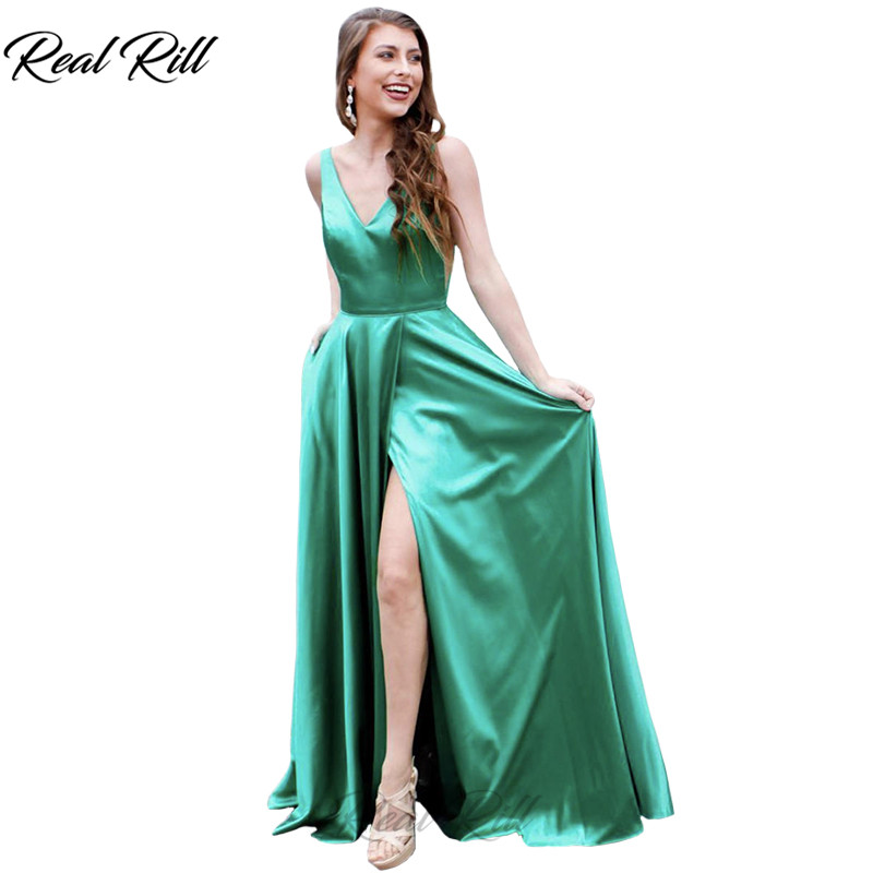 Real Rill V-Neck Side Split   Evening     Dress   2019 Satin Lace Up Back Floor Length   Evening   Gown Long   Dress   For Party