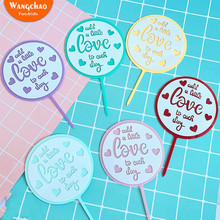 Valentines Day Double Multi-color Round Love Acrylic Cake Decoration Add A Little To Each Happy Birthday Topper