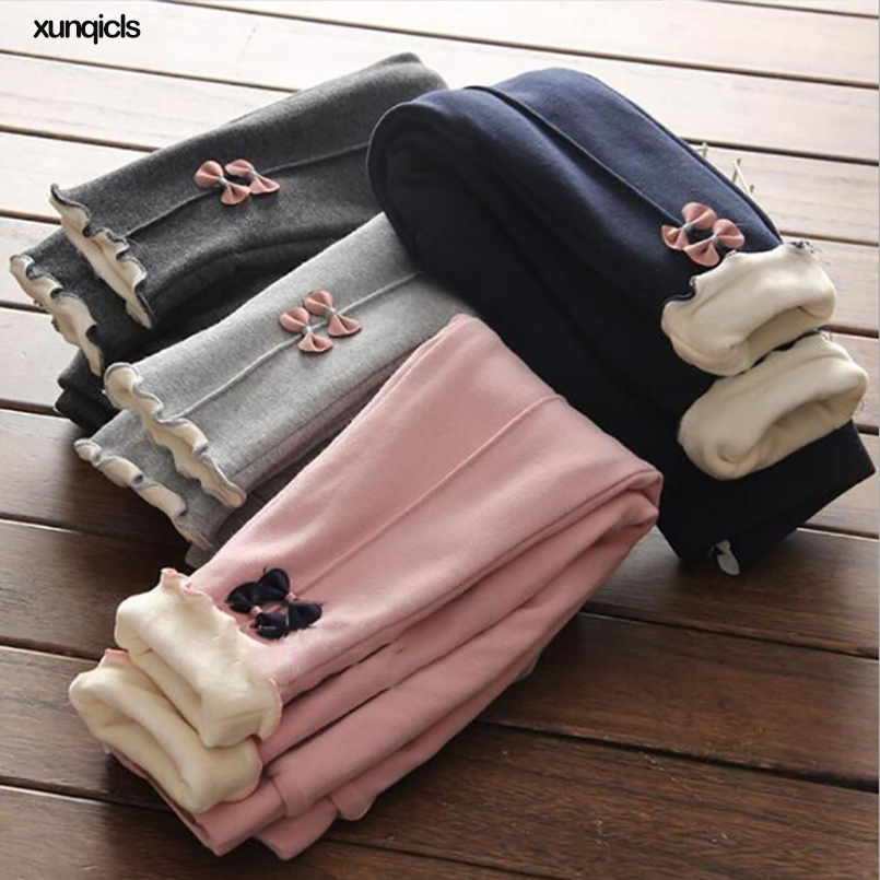 New Girls Warm Pants Winter Children Thicken Outwear Pants Cotton Bow Kids Fleece Trousers Baby Casual Trousers2-8year