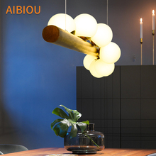 AIBIOU Art Deco LED Pendant Lights With Glass Balls Lampshade For Dining Room Wooden Pendant Lamp E27 Bar Cord Light Fixture free shipping ac90 260v avintage cord pendant lights clear glass lampshade edison bulb pendant lamp for dining room ktv bar