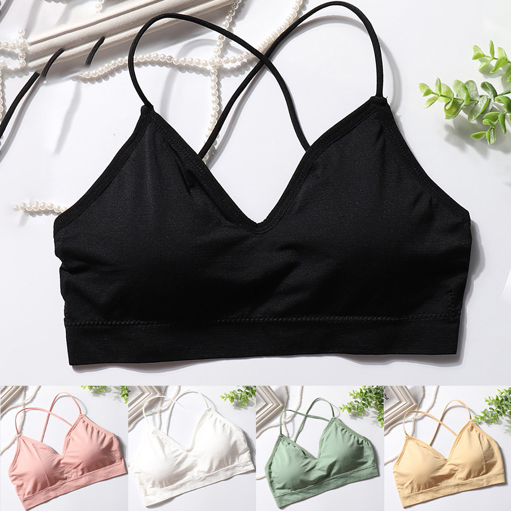 Female Bra With Solid Extra Thin Sport Bras Cross Beauty Back Comfortable Underwear Tank Top  Bralette For Lady Student Girl