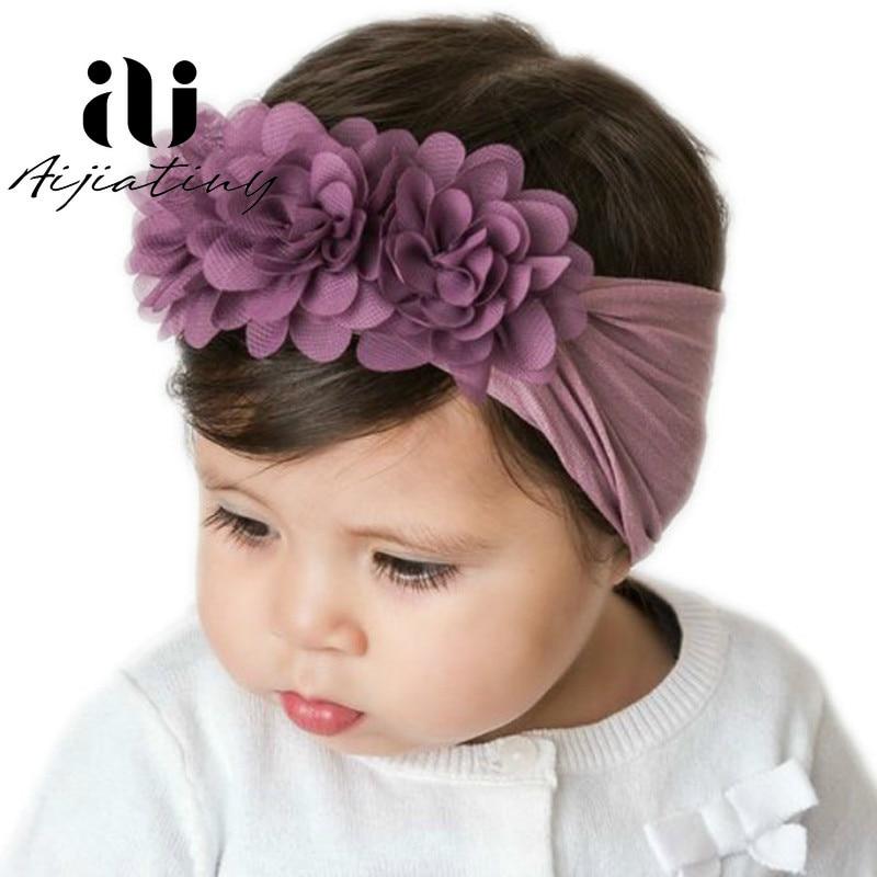 Baby Girls Elastic Flower Bow Headband Hair Band Head Dress Accessories