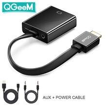 QGEEM HDMI to VGA 어댑터 디지털 to 아날로그 비디오 오디오 컨버터 케이블 Xbox 360 PS4 PC 노트북 TV 박스 용 HDMI VGA 커넥터