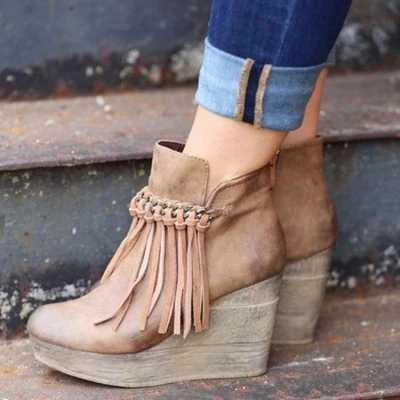 Jesienne buty klasyczne frędzle kostki PU skórzane buty zimowe zamszowe Slip-on kobiety buty 35-43 Botas Mujer 2019 damskie buty do kostki