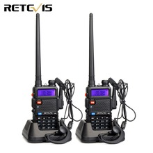 цена на 2 pcs RU Stock Walkie Talkie 5W DTMF Portable Radio Retevis RT-5R 128CH UHF/VHF Dual Band Ham Two Way Radio VOX RUA7105A