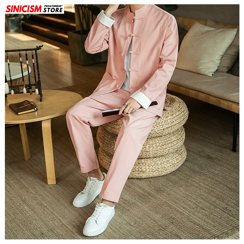 Sinicism Store Chinese Style Autumn Casual Men's Sets 2020 Buckle Plus Size Two-piece Set Jacket Coat Male Solid Fashion Suit
