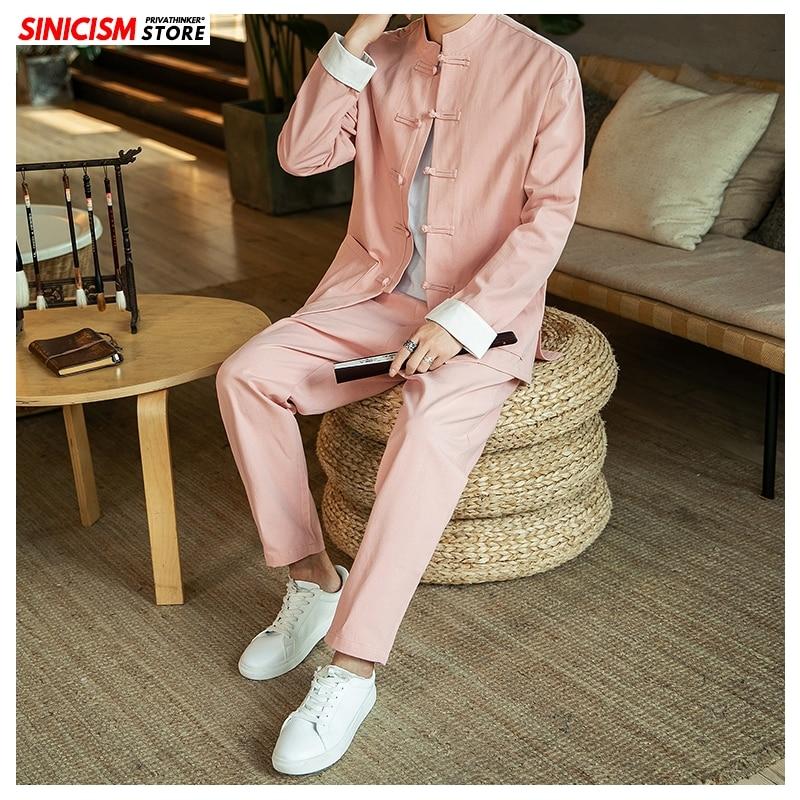 Sinicism Store Chinese Style Autumn Casual Men's Sets 2020 Buckle Plus Size Two-piece Set Jacket Coat Male Solid Fashion Suit