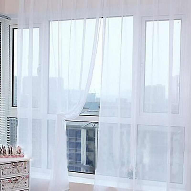 Tirai Warna Murni Tulle Pintu Jendela Tirai Drape Panel Belaka Syal Valances Modern Kamar Tidur Living Room Tirai Cortina