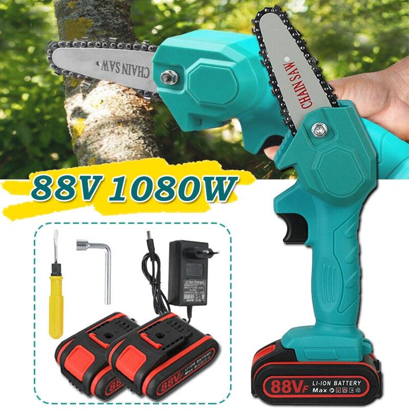 1080W 88V Мини Электрическая цепная пила с помощью одной руки регистрации обрезки резки по дереву, Мощность инструмент для сада лесного дерева ...