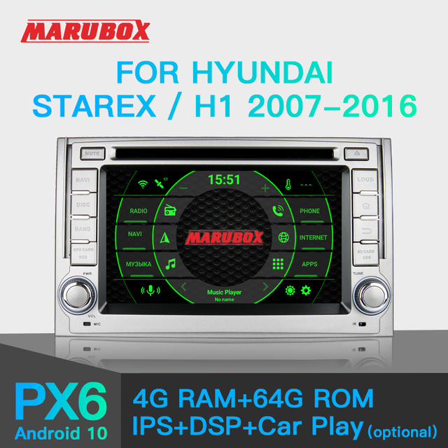 """Marubox PX6 Car DVD Player for Hyundai Starex, H1 2007 2016, 10"""" IPS Screen with DSP GPS Navigation Bluetooth Android 10 KD6224"""