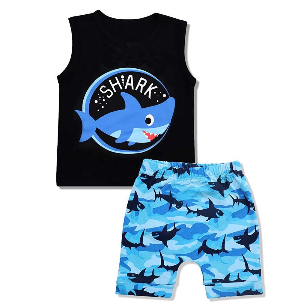 Beach Shorts Summer Outfits 2Pcs Infant Baby Boys Clothes Set Sleeveless Shark Cotton Vest Tops