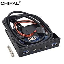 CHIPAL 5 portów USB 3.0 Hub Spilitter USB 3.1 TYPE-C USB-C Panel przedni HD Audio z kablem zasilającym do komputera stacjonarnego 3.5