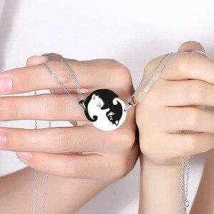 Колье с кулоном в виде животного Yin Yang, из нержавеющей стали, с кулоном в виде сердца, для влюбленных