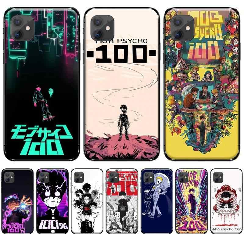 アニメ暴徒サイコ 100 ソフトシリコーン黒電話ケースiphone 4 4s 5 5s 5c se 6 6s 7 8 プラスx xs xr 11 プロマックス