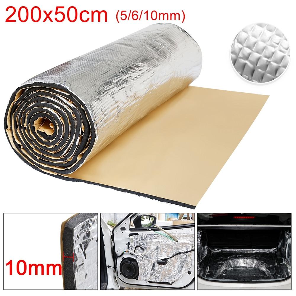 200x50cm 5/6/10mm carro som deadener esteira isolamento de calor impermeabilização de som do carro espuma de amortecimento para a etiqueta do motor da capa