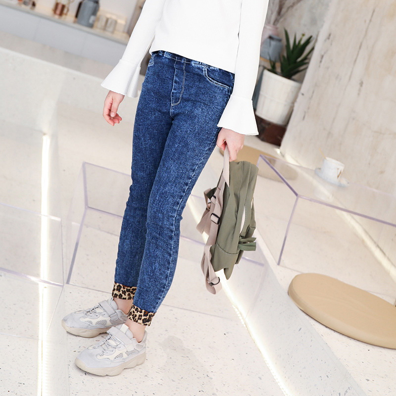 3-13 Teenage Children Girl Korean Fashion Jeans Leopard Elastic Waist Denim Pants Girls Black Skinny Trousers Kids Clothes