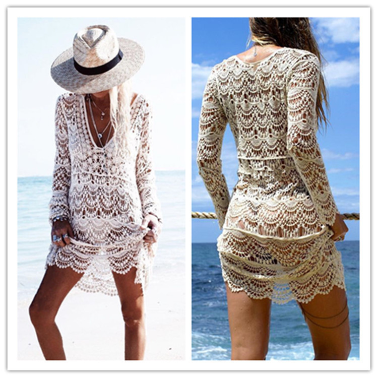 Hot Selling Sexy Knitted Hollow Out Embroidery Beach Skirt Holiday Long Skirts Bikini Outer Blouse Seaside Sun Shirt